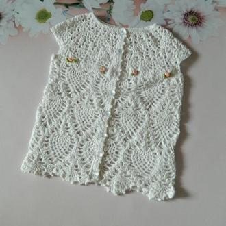 Вязаное ажурное платье для девочки Крестильное платье белого цвета 100% хлопок
