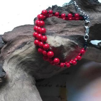 Браслет из Коралла Красного Серебро 925
