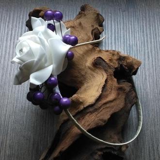 """Ободок обруч для волос """"Белые розы"""""""