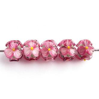 Бусины «Цветы темно-розовые»