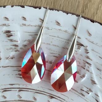Серебряные свисающие красные серьги капли с кристаллами Swarovski Siam