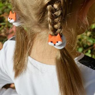 Резиночки для волос Забавные Лисички из фетра
