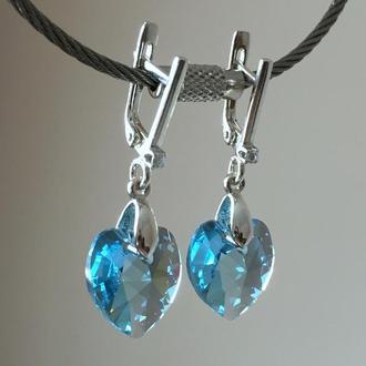 Серебряные голубые сердца серьги с кристаллами Swarovski Аквамарин