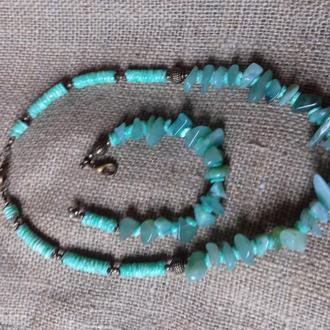 Компект:Намисто і браслет з бірюзового нефриту і коралу
