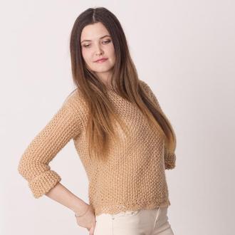 Нежный свитер ручной вязки бежевого цвета мохер с пайетками Ажурный воздушный кроп-свитер