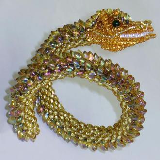 Браслет из бисера в виде золотого дракона