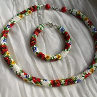 Комплект украшений Жгут браслет вязаные крючком