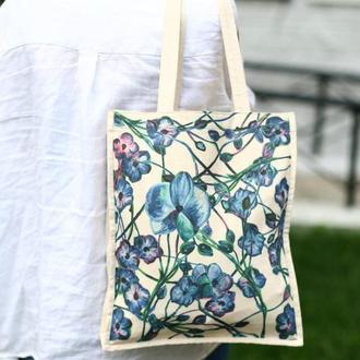 """Эко сумка с авторским рисунком """"Цветы"""""""