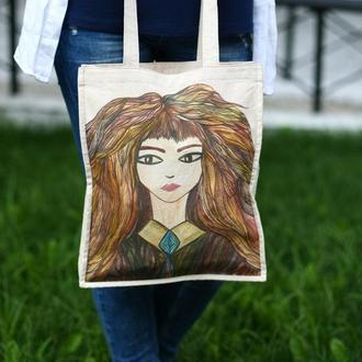 """Эко сумка с авторским рисунком """"Гермиона"""""""