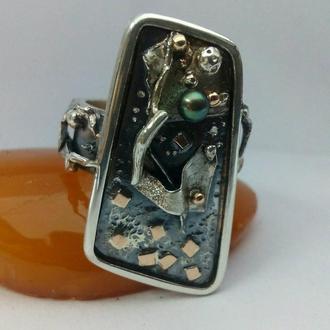 Кольцо серебро+золото