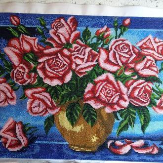 """Вышитая картина бисером """"Букет роз"""""""