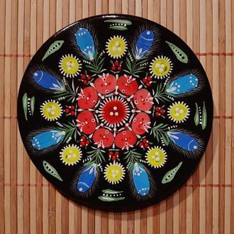 """Декоративная деревянная тарелка с авторской росписью """"Слобожанские мотивы"""". 14 см."""
