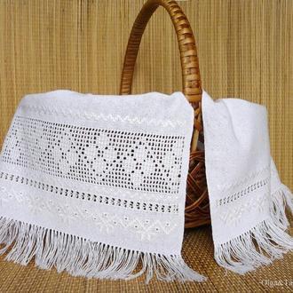 Пасхальный рушник салфетка ручная вышивка белим по белому на корзинку
