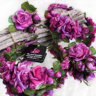 Ободок с шелковыми розами «Лесная ягода»