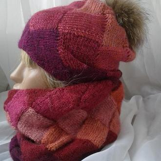 Комплект шапка и снуд   Вязание