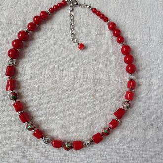 Ожерелье на один ряд из красного коралла
