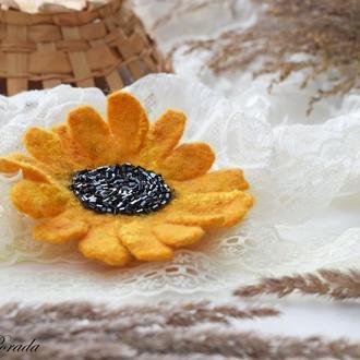 Сонях брошка квітка валяна із шерсті брошьцветок подсолнух войлок стильний подарок