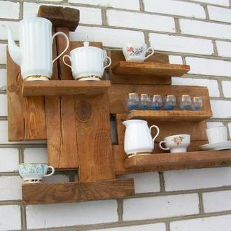 """Деревянная дизайнерская полка на стену """"Утренний кофе с молоком"""""""