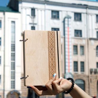 Блокнот формата А5. Блокнот с украинской символикой. Деревянный блокнот. Подарок