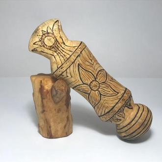 Кастет деревянный выжигание и роспись