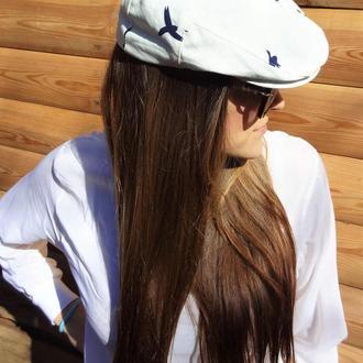 Льняная кепка белая с синими чайками
