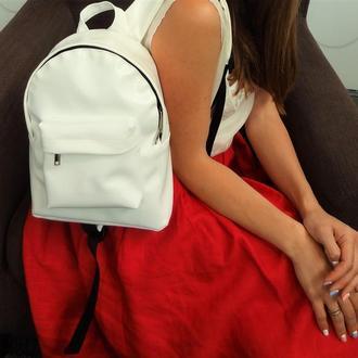 Белоснежный мини-рюкзак из итальянской экокожи