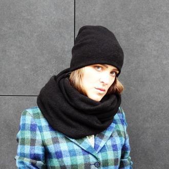 Комплект ангоровый (двойная шапка+двойной снуд) черный
