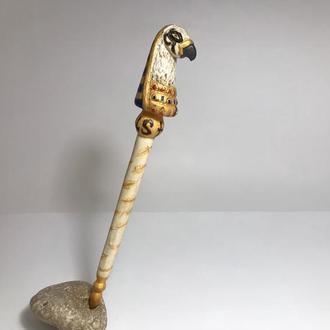 Шпилька деревянная для волос Орел выжигание и роспись
