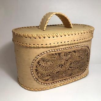 Шкатулка-хлебница из бересты