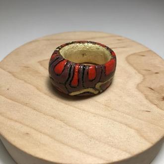 Кольцо деревянное роспись и выжигание