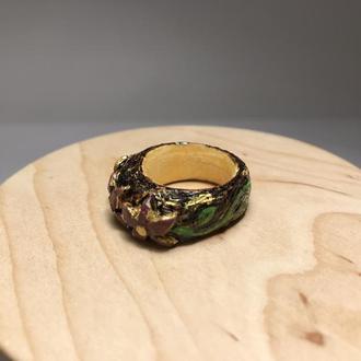 Кольцо деревянное Цветы выжигание и роспись
