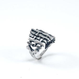 Кольцо с рельефом плетень