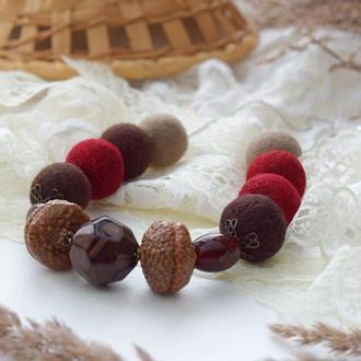 Намисто валяне із шерсті чудовий подарунок бордові та коричневі відтінки бусы