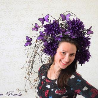 Вінок з метеликами корона з квітами ободок стильний фотосесія сценічний вінок ободок с бабочками