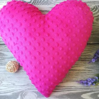 Подушка розовое плюшевое сердце
