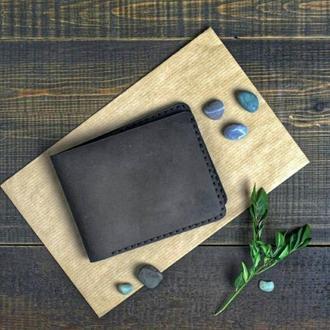 Кожаное портмоне,классический мужской кошелек, бумажник двойного сложения.Темно-коричневый, Vintage