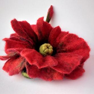 Цветок_мака, брошь , сухое_валяние