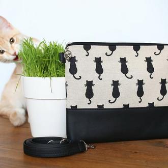Сумка с принтом Кошка, женская, стильная сумка с черно-натуральным принтом