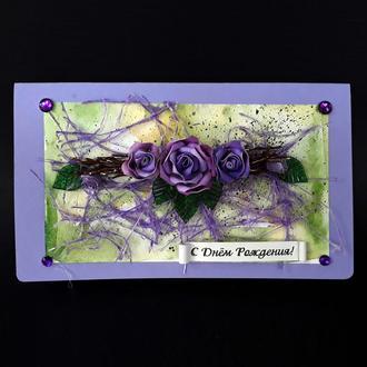 Открытка-шоколадка ручной работы с шикарными цветами
