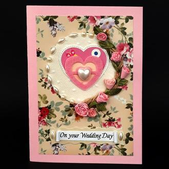 """Свадебная открытка-конверт для денег ручной работы """"On your Wedding Day"""""""