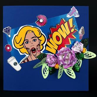 """Поздравительная фактурная открытка   в стиле поп-арт """"WOW!"""""""