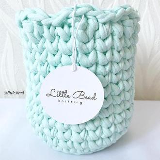 Корзинка из трикотажной пряжи Little Bead Knit с ажурным краем
