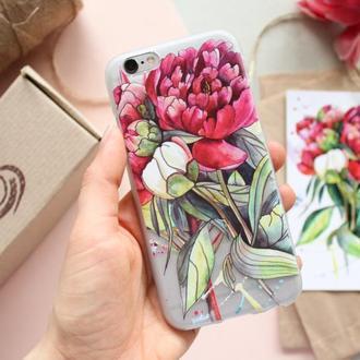 """Чехол на iPhone с авторской иллюстрацией """"Пионы"""""""