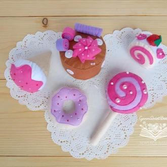 Набор из фетра Кондитерская - развивающая игрушка, подарок девочке, кукольная игровая еда