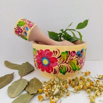 Деревянный подарочный набор Ступка и пестик для кухни Петриковская роспись