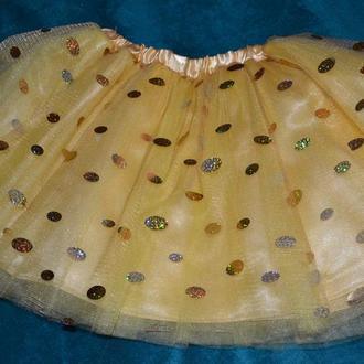 юбка -пачка желтая Фатин +атлас