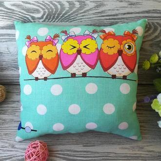 Подушка три совы (1 розовая сова) , 31 см * 30 см