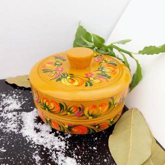 Деревянная солонка (сольница) Петриковская роспись