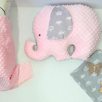 """Серо-розовый """"Слон-подушка"""", двухсторонняя игрушка-подушка в форме слоника"""