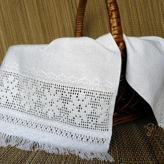 Пасхальный рушник салфетка ручная вышивка белым по белому с мережками, на корзинку